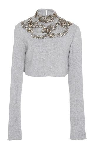Medium sally lapointe grey cashmere wool sweatshirt embroidered cropped ski top