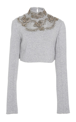 Medium sally lapointe grey cashmere wool sweatshirt embroidered cropped ski top
