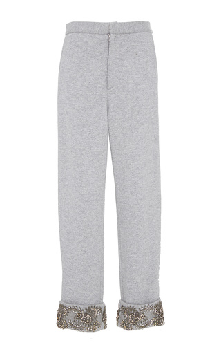 Medium sally lapointe grey cashmere wool sweatshirt slit pant w embroidery