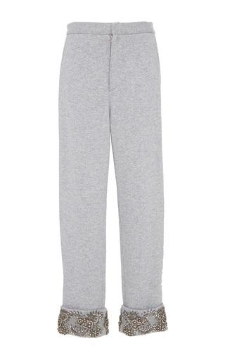 Medium sally lapointe grey cashmere wool sweatshirt slit pant w embroidery