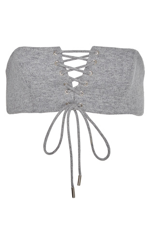Medium sally lapointe grey cashmere wool sweatshirt bustier