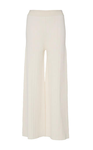 Medium sally lapointe neutral stretch viscose cropped wide leg pant
