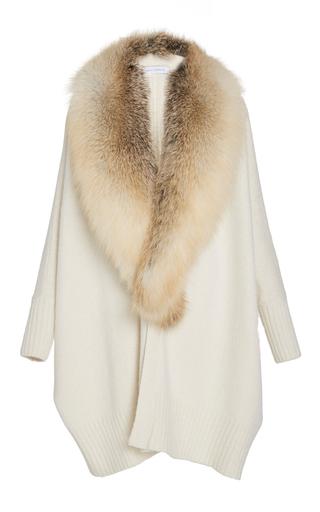 Medium sally lapointe neutral washed silk cashmere oversized cardigan w golden island fox stole