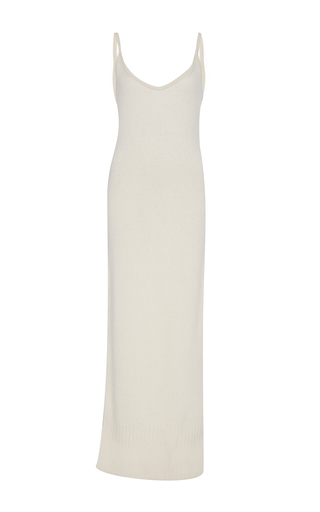 Medium sally lapointe neutral washed silk cashmere fitted tank dress