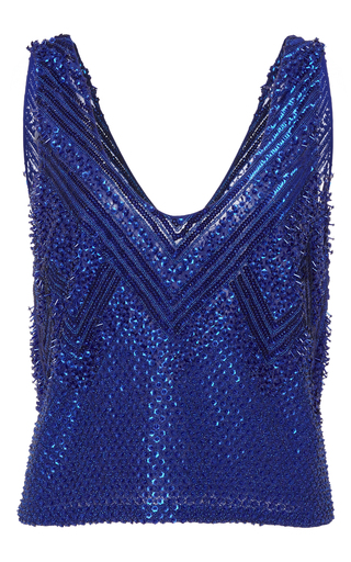 Medium sally lapointe blue floral embroidery tank