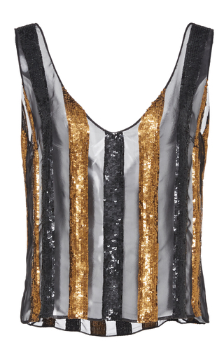 Medium sally lapointe multi striped sequin embroidered tank