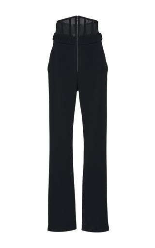 Medium sally lapointe black stretch viscose corset pant