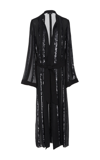 Medium sally lapointe black striped sequin embroidered kimono duster