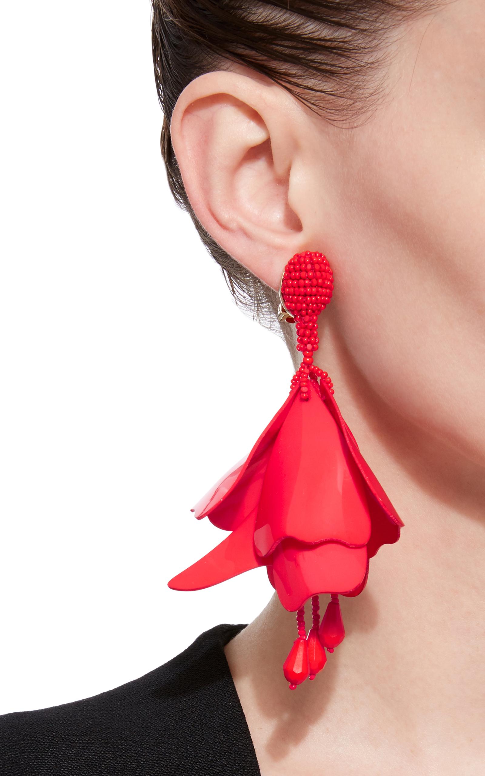 Oscar De La Renta falling flower earrings - Red DlHDEyuk