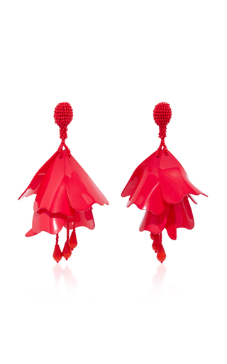 Medium oscar de la renta red impatiens resin clip earrings