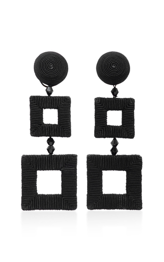 Medium oscar de la renta black square clip earrings