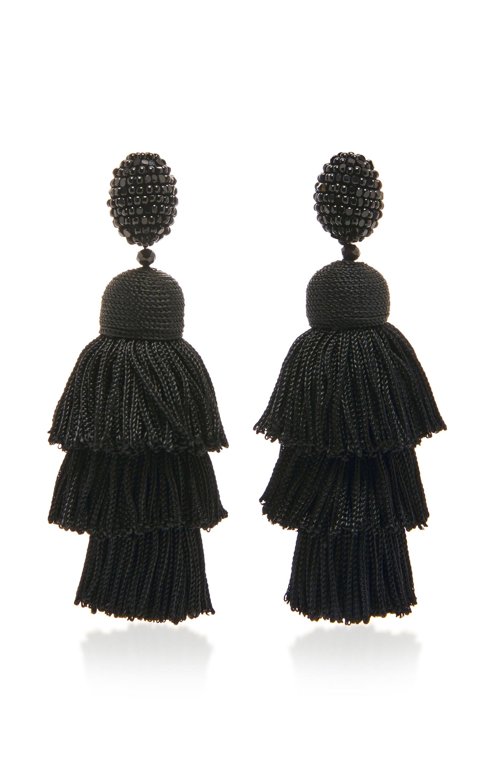 multi tiered tassel earring - Black Oscar De La Renta a6eV61wTE