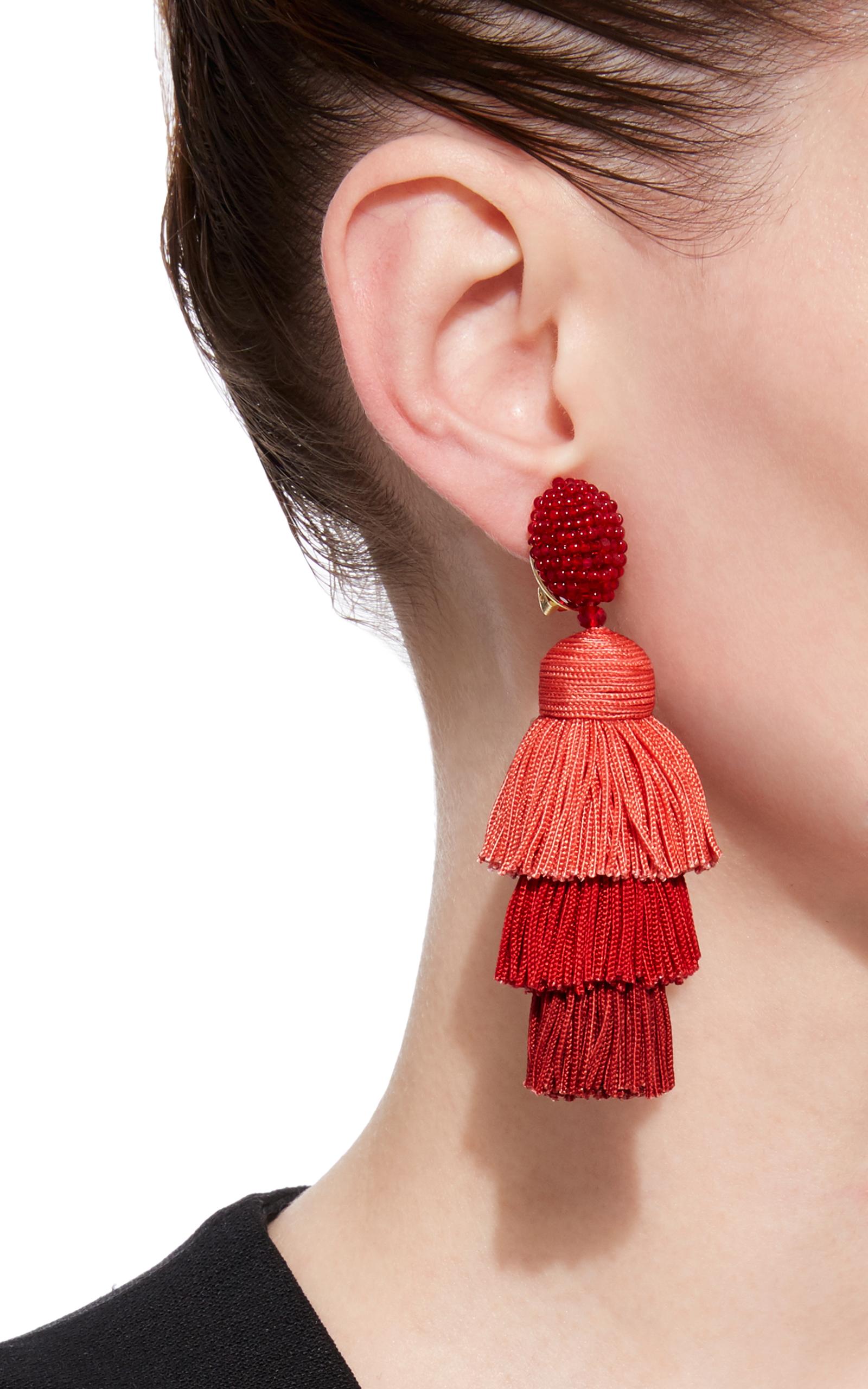 Long Silk Tiered Tassel C Earring By Oscar De La Renta Moda Operandi