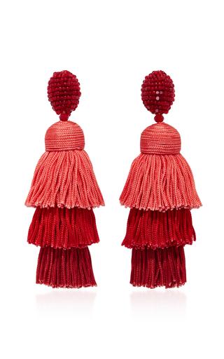 Medium oscar de la renta red long silk tiered tassel c earring