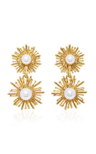 Medium oscar de la renta white gold tone faux pearl earrings