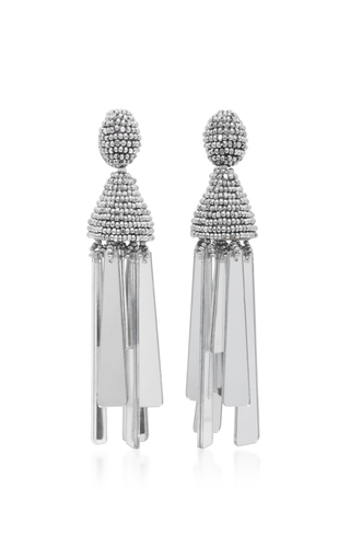 Medium oscar de la renta silver beaded clip earrings