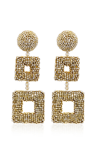 Medium oscar de la renta gold gold tone beaded clip earrings