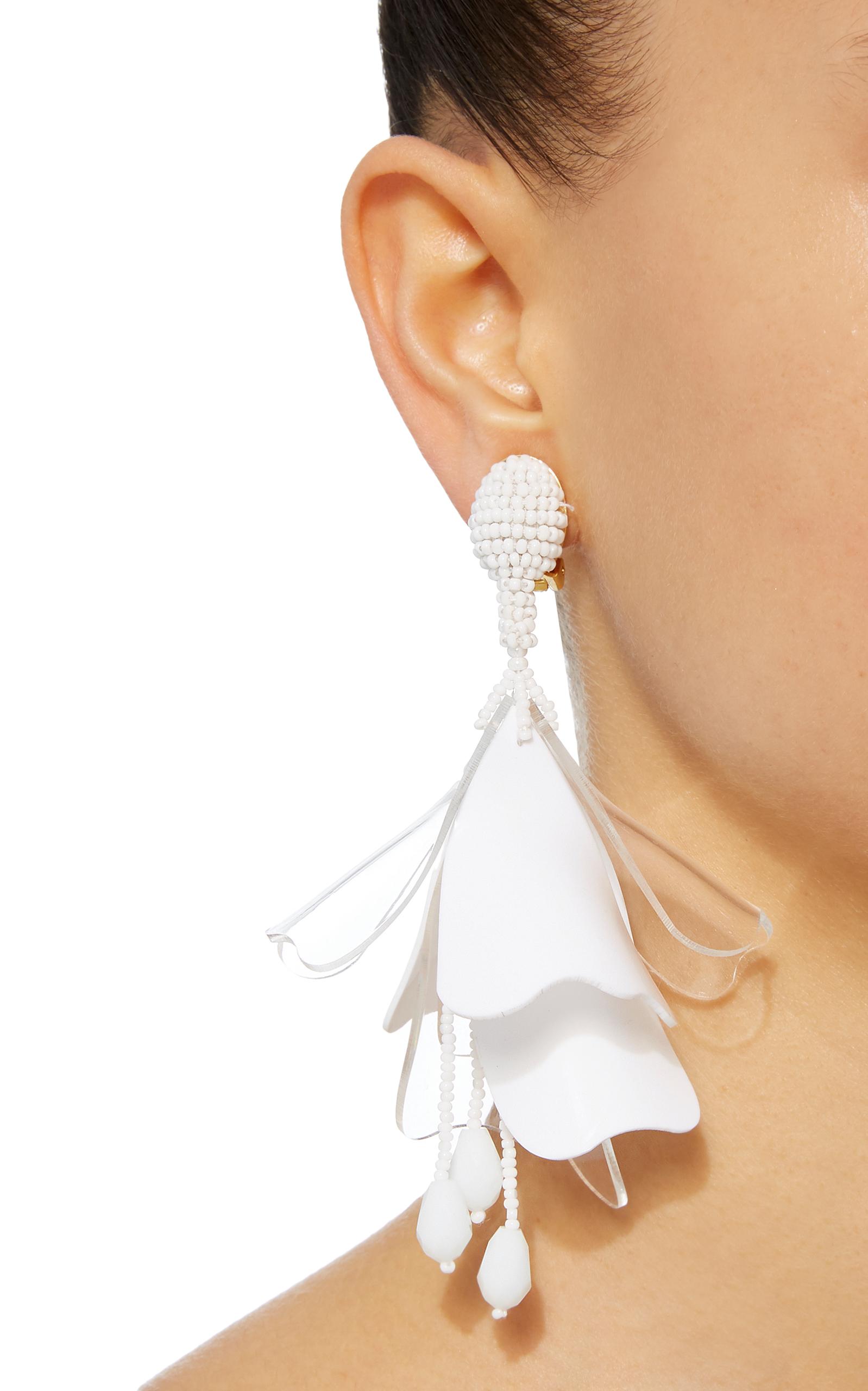 Oscar De La Renta Gold Large Impatiens Flower Drop Earrings HlgDZQUeIw