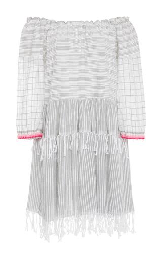 Medium lemlem stripe anan off the shoulder cotton blend gauze dress