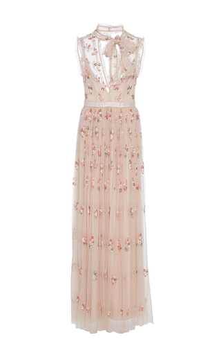 Medium needle thread pink embellished tulle gown