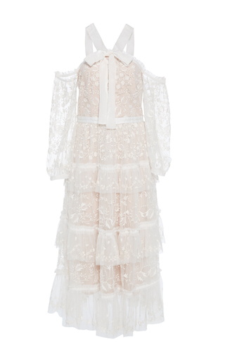 Medium needle thread white primrose tiered embroidered tulle dress