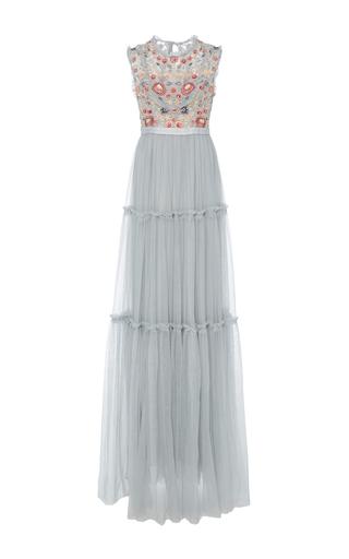 Medium needle thread blue sundaze embroidered tulle gown