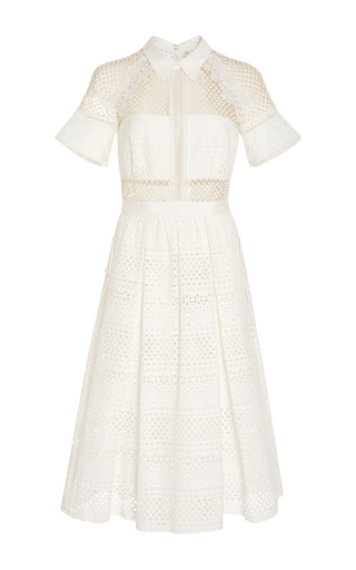 Medium self portrait white lace paneled cotton dress