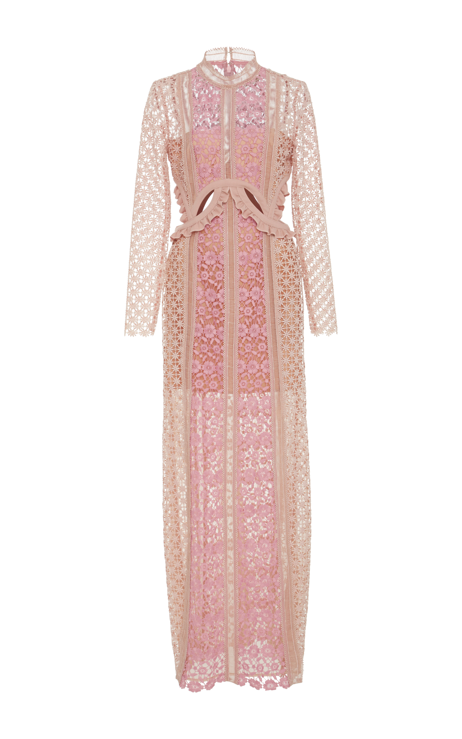a1ed4aa59109 Payne Ruffle-Trimmed Lace Maxi Dress by Self Portrait | Moda Operandi