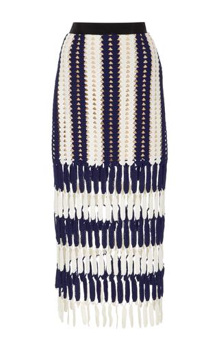 Medium self portrait stripe high rise crochet knit skirt