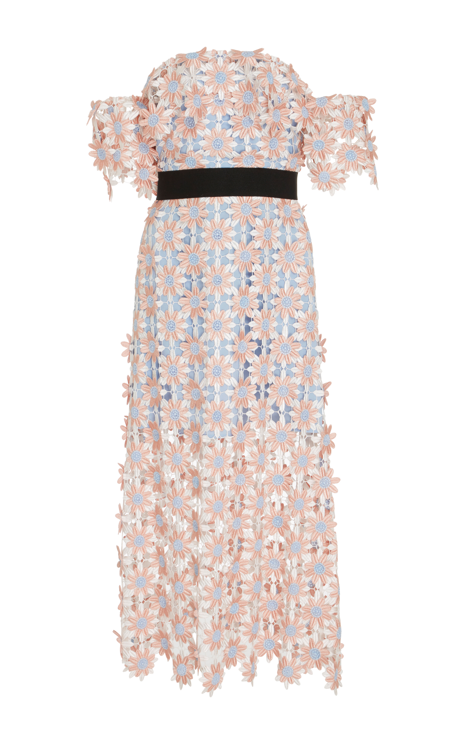 006896fe6fd5 Off-The-Shoulder Guipure Lace Midi Dress by Self Portrait   Moda ...