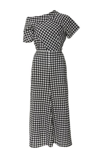 Medium rachel comey black white off the shoulder gingham midi dress