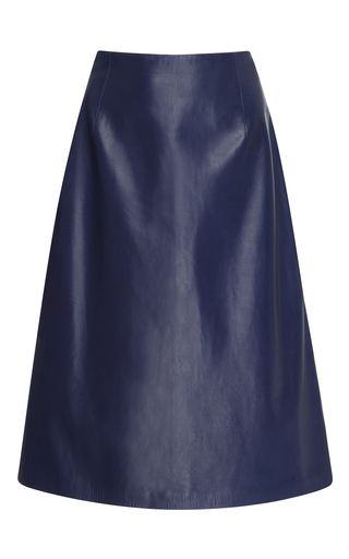 Medium carolina herrera blue a line leather skirt