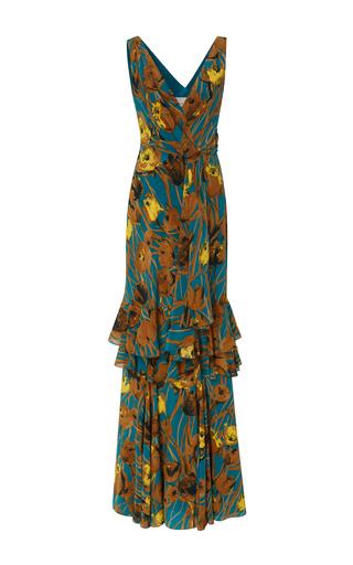 Medium carolina herrera print sleeveless deep v floral dress