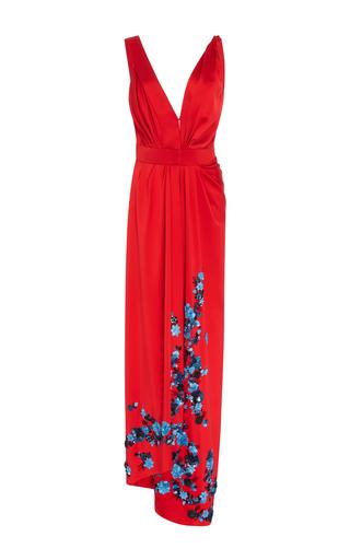 Medium carolina herrera red deep v floral gown