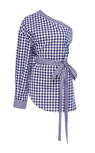 Medium rosetta getty plaid one shoulder gingham cotton blouse