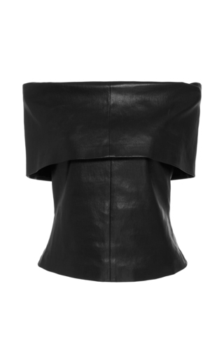 Medium rosetta getty black off the shoulder leather top