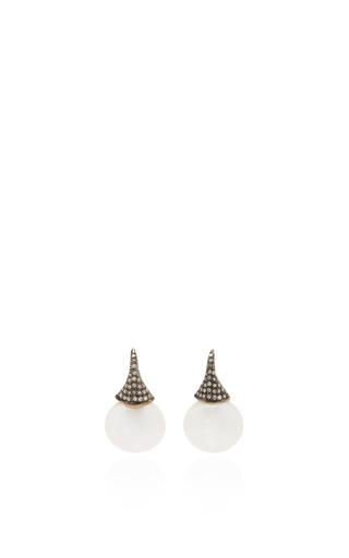 Medium sanjay kasliwal white pearl drop earrings