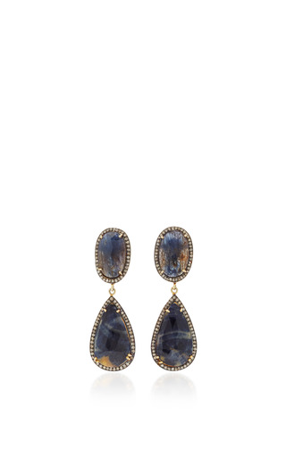 Medium sanjay kasliwal blue sapphire rough earrings
