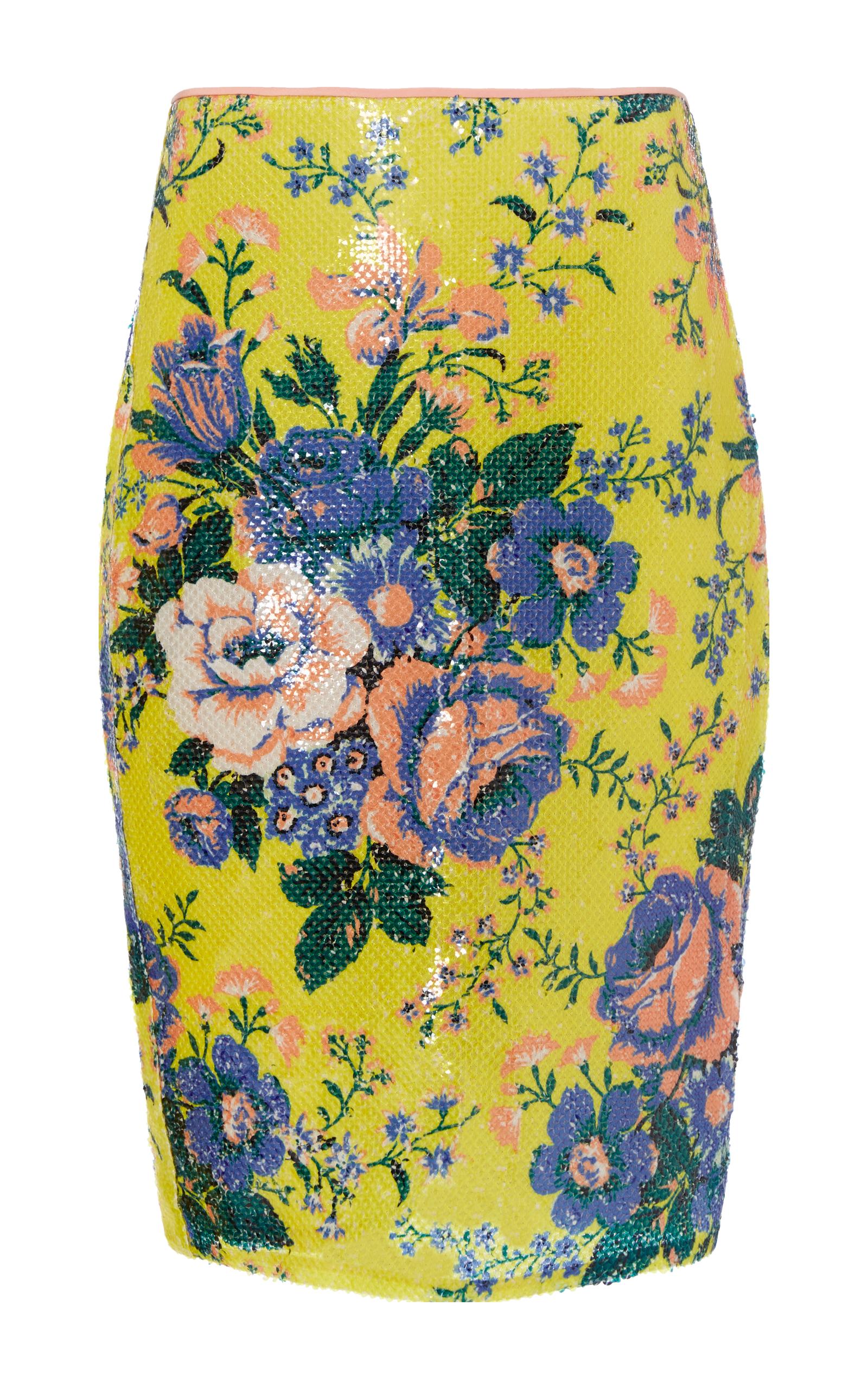 c1f25f40191 Diane von FurstenbergFloral-Print Sequin Pencil Skirt. CLOSE. Loading