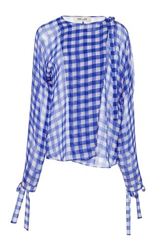 8da33cc05bc0f2 Diane von FurstenbergLong Sleeve Tie Neck Slit Blouse