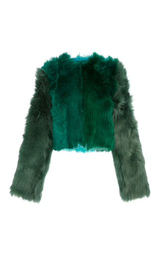 Medium diane von furstenberg green long sleeve fur jacket