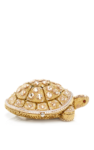 Medium judith leiber gold fortune turtle clutch