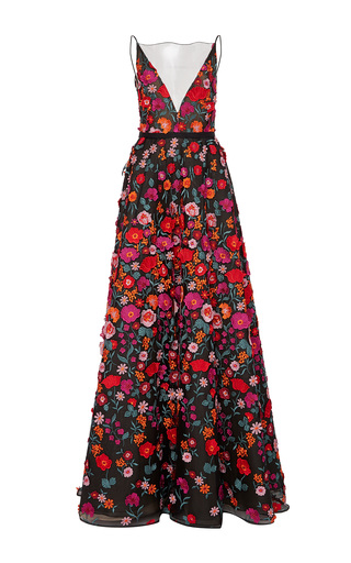 Medium lela rose black embroidered plunging v neck gown