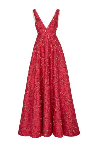 Medium lela rose pink v neck a line gown