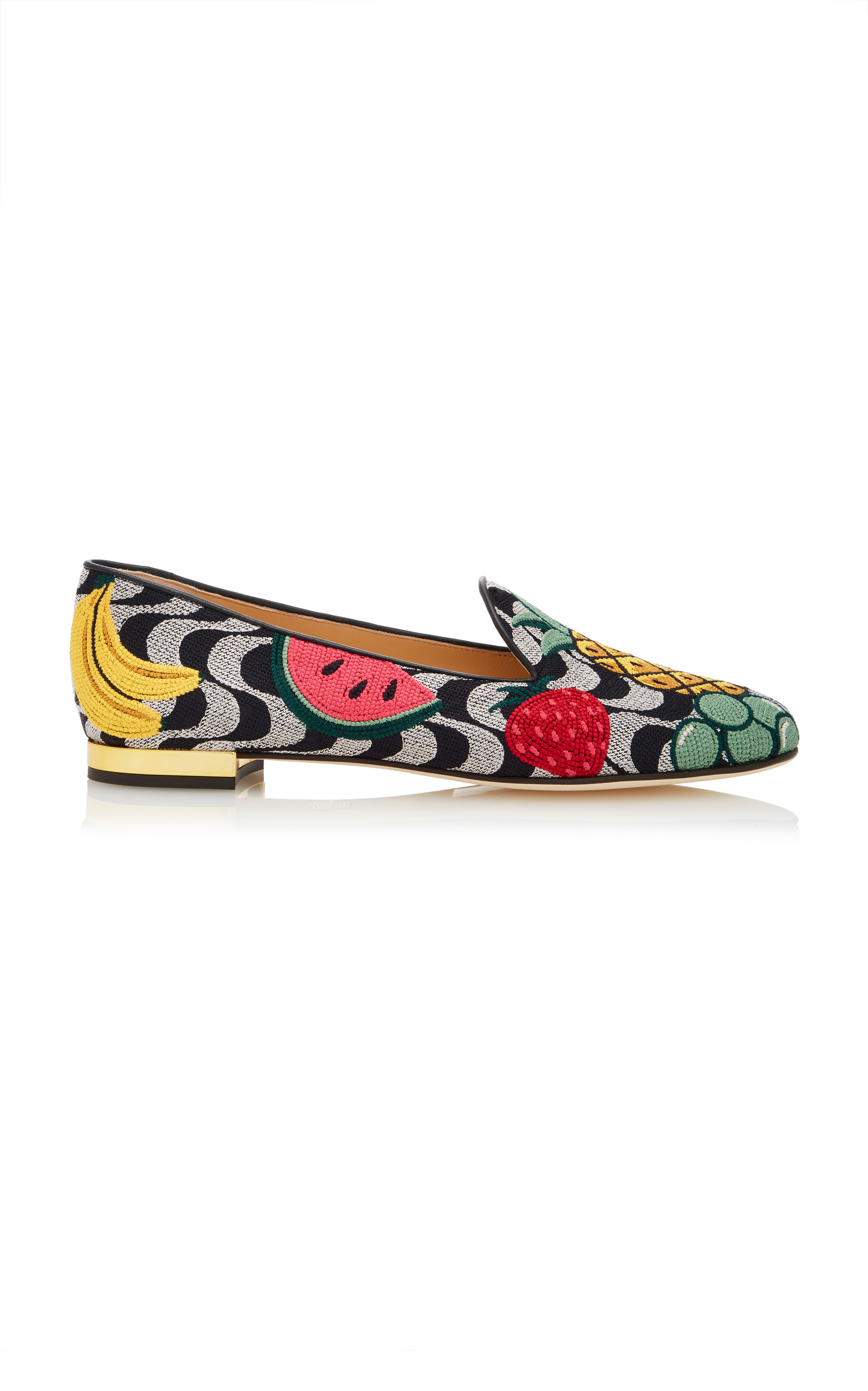 Charlotte Olympia Designer Shoes, Fruit Salad Embroidered Canvas Slippers
