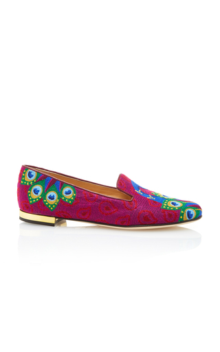 Medium charlotte olympia pink peacock embroidered canvas slippers