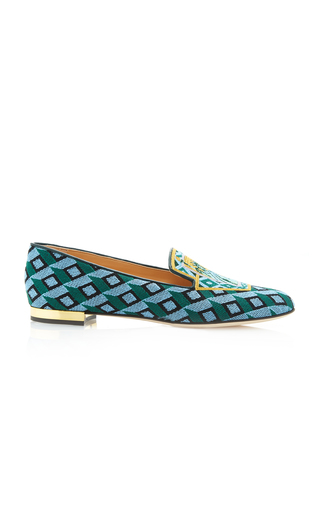 Medium charlotte olympia green lady liberty embroidered canvas slippers