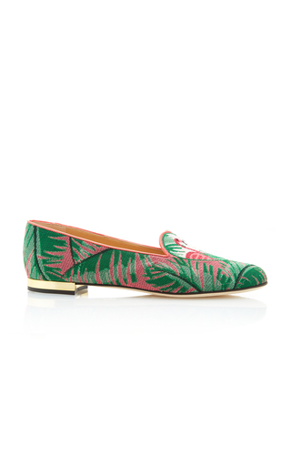 Medium charlotte olympia print flamingo embroidered canvas slippers