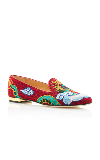 Medium charlotte olympia red dragon embroidered canvas slippers