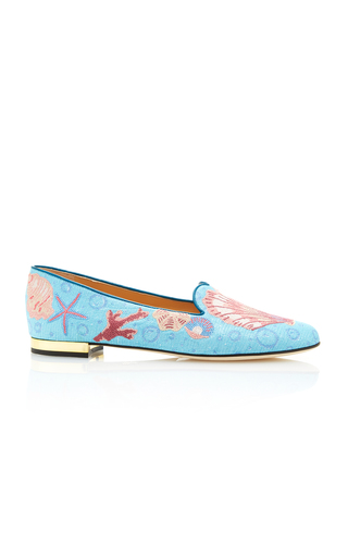 Medium charlotte olympia blue oceanic embroidered canvas slippers